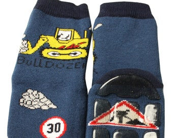 Non-slip terry children Socks in royal blue with Pinguin and Walroos WERI SPEZIALS