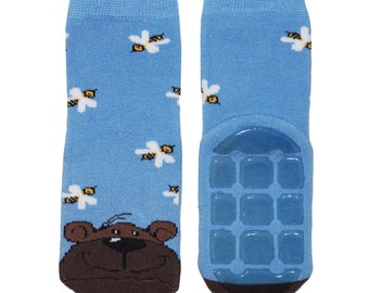 Non-slip terry socks with stripes and funny bunny in grasgreen WERI SPEZIALS