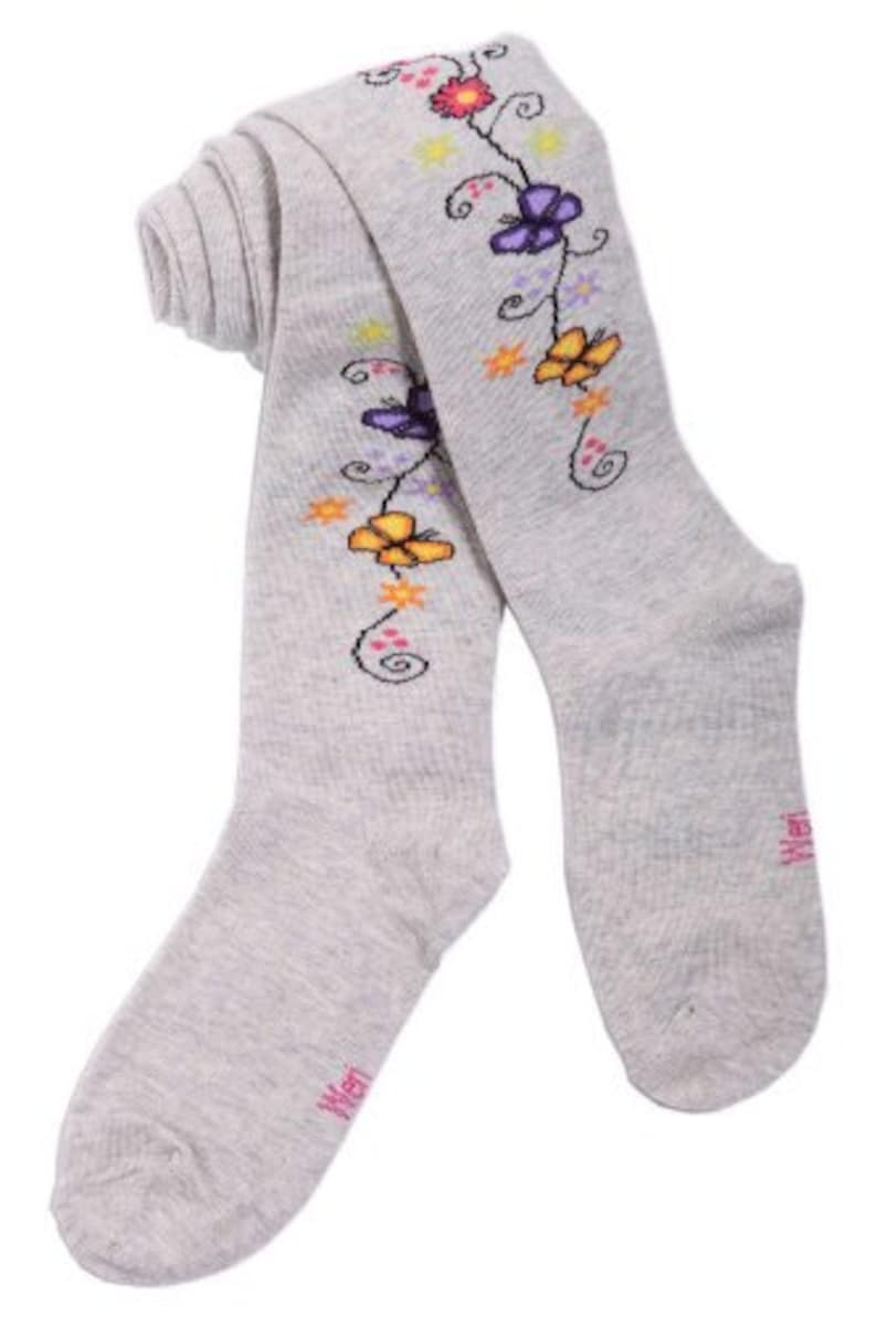 Tights for girls with butterfly and flowers in silver grey.WERI SPEZIALS