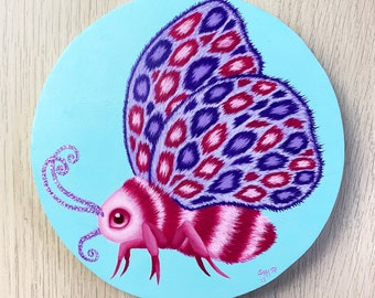Fantasy moth oil painting, fantasy wall art, pop surreal home decor, Swedish art, animal wall art