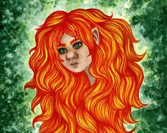 Troll girl watercolor painting, fantasy wall art, Swedish folklore home decor