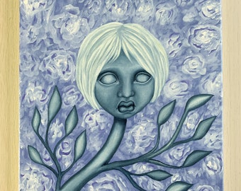 Pop surreal flower girl oil painting, surreal home decor, purple flower painting