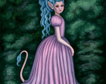 Fantasy oil painting, troll painting, girl with rococo hair, Swedish fairytale painting, pink princess dress, fairytale wall art
