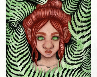 Troll girl with ferns in watercolor, fantasy wall art, Swedish folklore home decor
