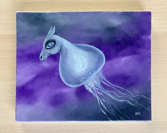 Surreal horse jellyfish oil painting, fantasy wall art, pop surreal seahorse, fantasy home decor from Sweden