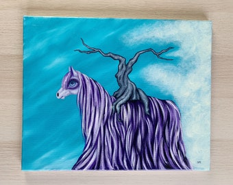 Long haired pony oil painting, surreal horse art, pop surreal animal wall art, horse home decor