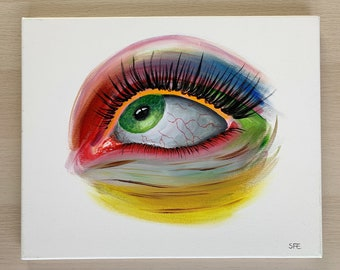 Rainbow colored eye painting, colorful eye wall art, psychedelic eye home decor