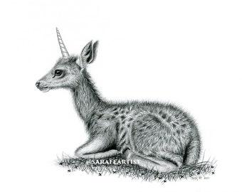 Unicorn deer calf artwork, unicorn wall art, fantasy home decor, folklore drawing