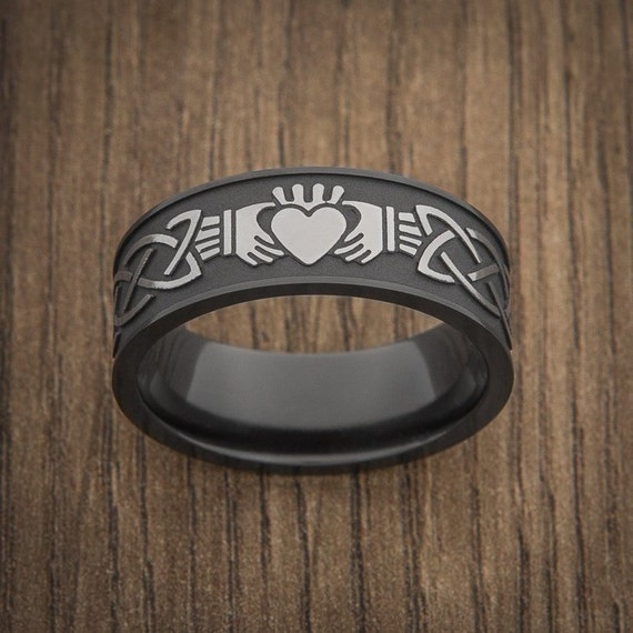 Two Tone Wedding Ring, Two Tone Black Wedding Band, Customizable Engraving, Claddagh Ring