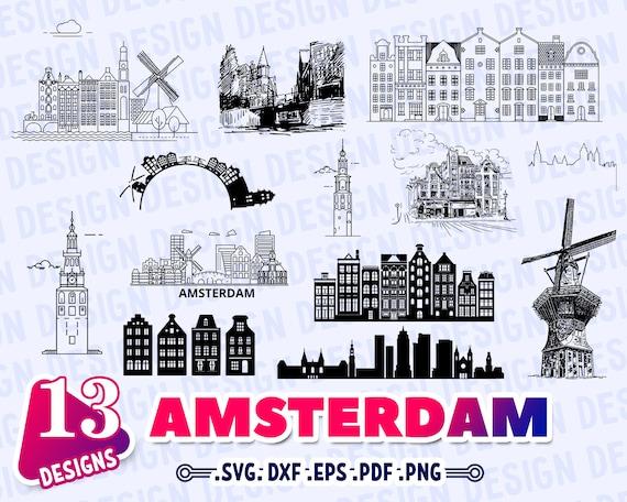 Amsterdam Svg Amsterdam Skyline Svg Amsterdam Silhouette Etsy