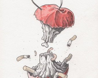 Apple ashtray (original artwork)