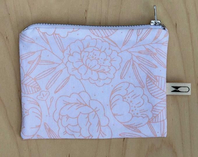 Mini zipper pouch | Peach Floral
