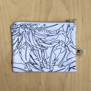 Reclaimed fabric pouch White or avocado pink lining Medium zipper pouch Divots Screen printed pouch