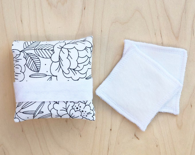 Travel Pouch for Reusable Makeup Pads - Floral