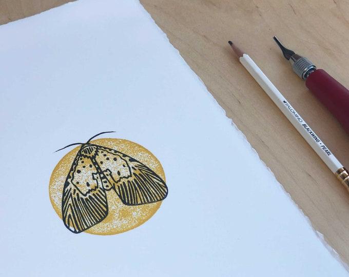 Sunny Moth Lino Print
