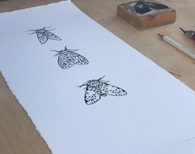 Triple Moth Lino Print