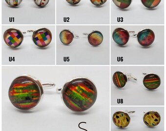 Earth Tones Assorted Colors Cuff Links Abstract Cuff Links in Silver Settings Striped 12mm Geometric Multicolored Mosaic Polka Dot