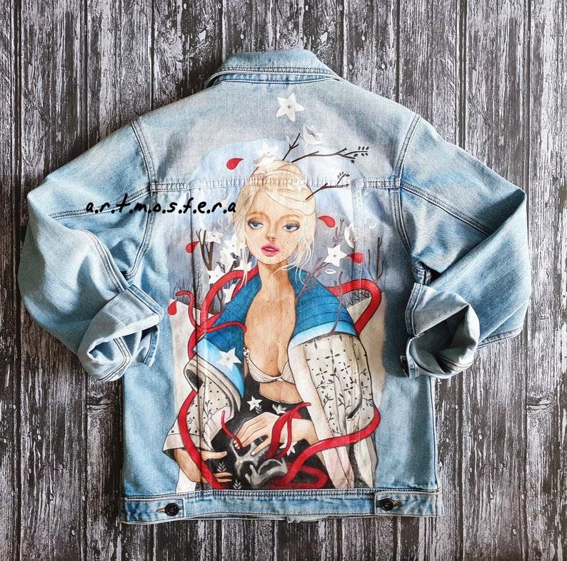 Custom denim jacket Hand painted jacket women's Hand painted custom denim  jacket Customized denim jacket Denim painting Customized jeans