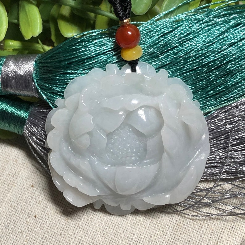 42.1 mm Certified Myanmar Grade A Icy Glutinous Carved Flower Pendant Medallion