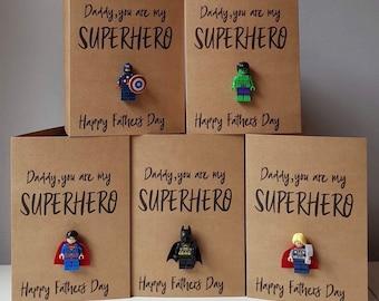 93403ed28 Personalised Father's Day Superhero lego mini figure card