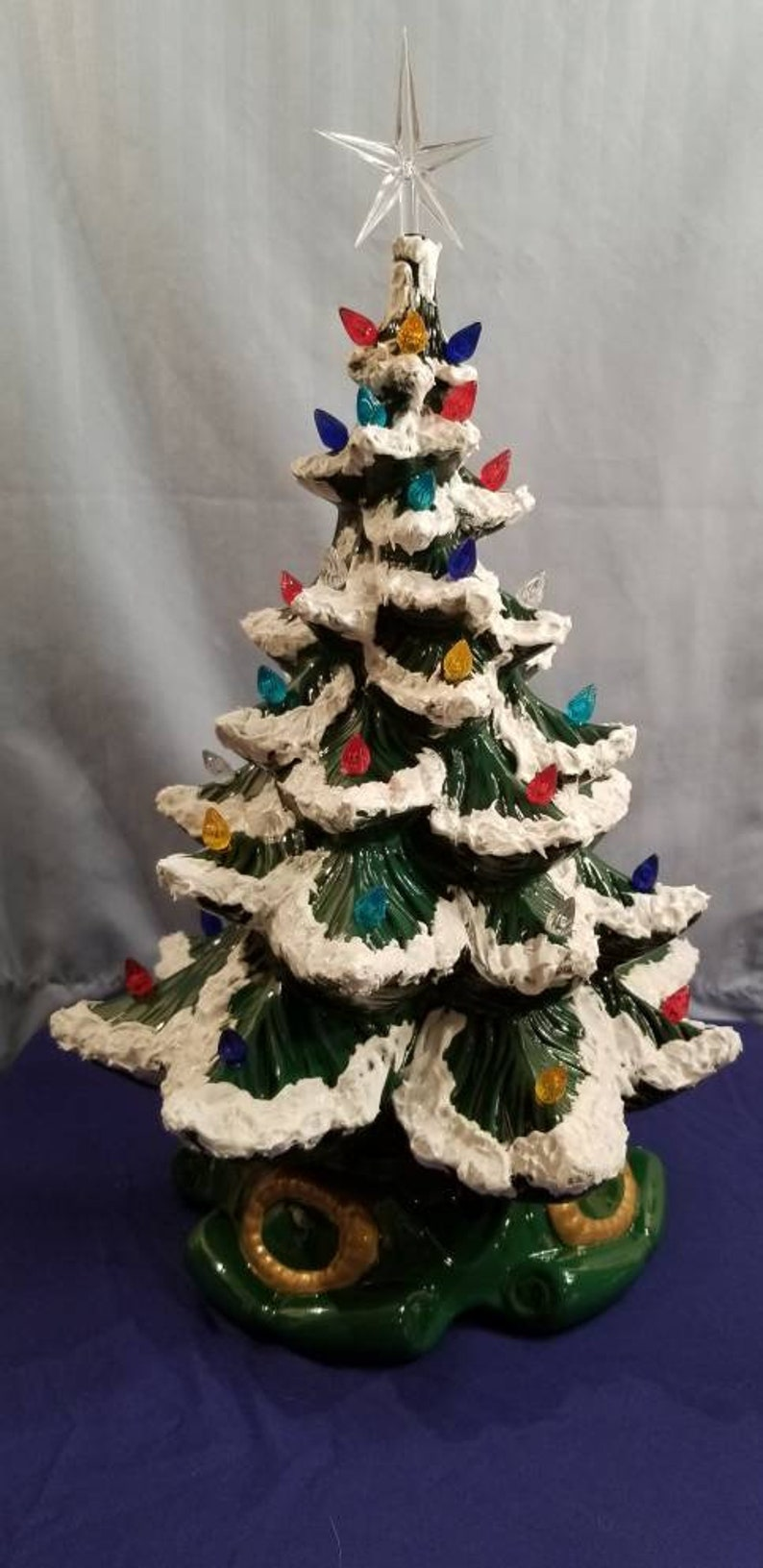Vintage Ceramic Christmas Tree Limited Collection Available Customized Flocked Music Box Plays Jingle Bells Nostalgic