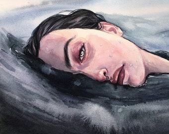 Watercolor woman portrait, original painting, art painting with mermaid