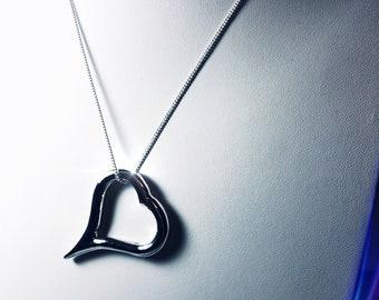 Chunky Fine Silver Heart Pendant