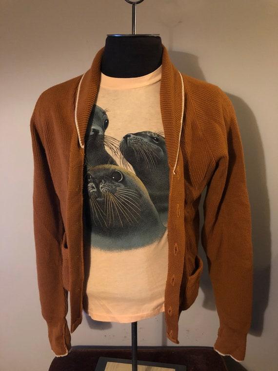 Vintage Cardigan sweater Mustard Grunge