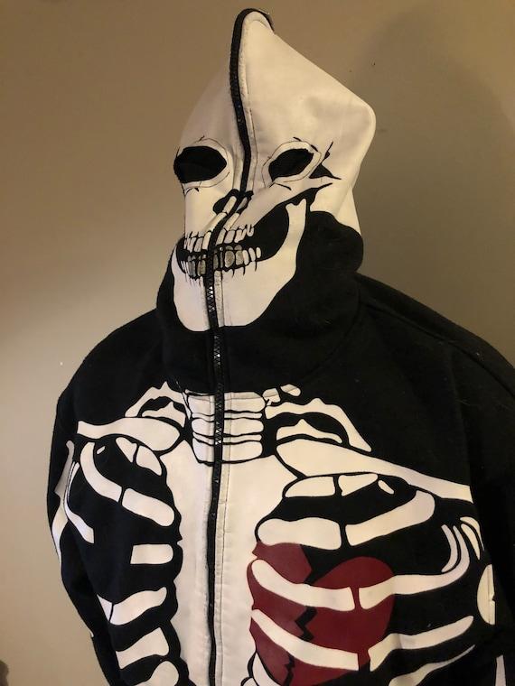 Vintage Mecca Jeans Skeleton Hoodie Full Face Zip