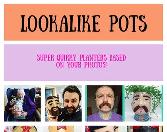 Lookalike face pot - Family planters - Quirky gifts - Unique indoor plants - Head pots - Ceramic pots based on your photos