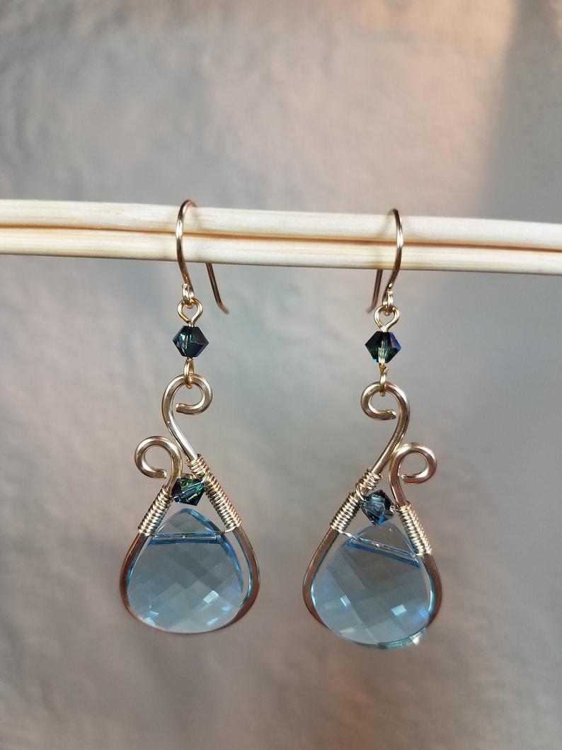 Aquamarine Crystal Drops in Gold 2