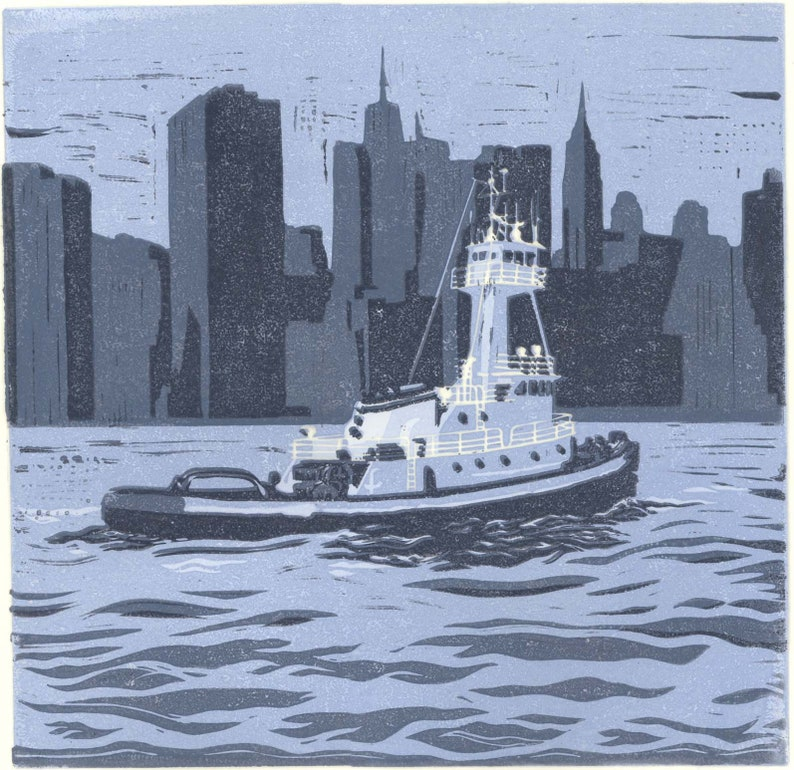 Brooklyn Tugboat Limited Edition Reduction Lino Cut image 0