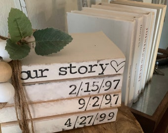 Set of 4 Custom Personalized Stacked Books //Home Books//Neutral Farmhouse Decor//Home Decor