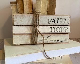Faith Hope Love Stamped Books//Home Books//Neutral Farmhouse Decor//Vintage Home//farmhouse books//Free Shipping