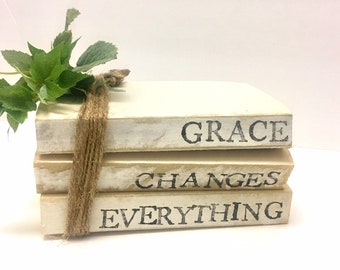 Grace Changes Everything Stamped Books//Home Books//Neutral Farmhouse Decor//Vintage Home//Stacked Books//Free Shipping