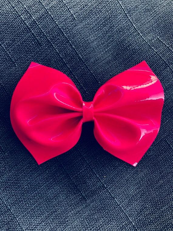 Pink Vinyl Hairbow