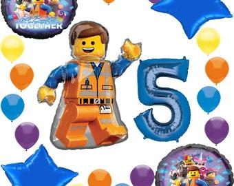 "EMMETT LEGO MAN GIANT 32/"" SUPERSHAPE FOIL BALLOON BIRTHDAY PARTY LEGO MOVIE"