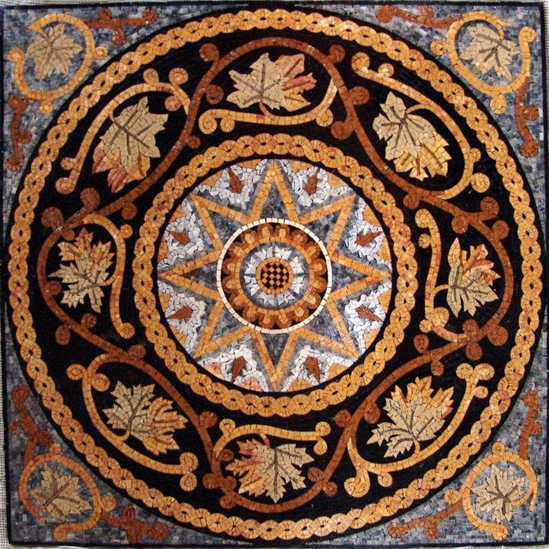 Shana 24 Handmade Botanical Roman Marble Mosaic Art Tile Decor