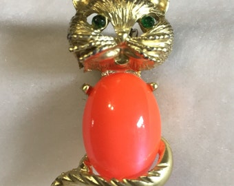 Vintage Red Belly Cat Brooch