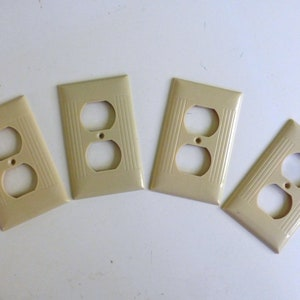 4 Vintage Sierra Ivory Ribbed Electrical Outlet Plate Covers D-8 Art DecoMid Century Modern Home or Office Remodel Hardware Four