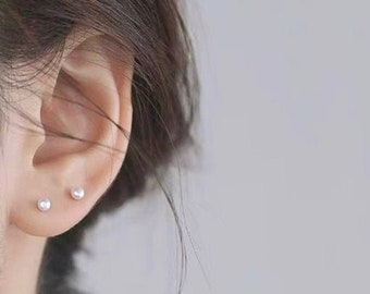 discreet elegance barely there comfort tiny black pearl earring studs fine tiny round pearl studs 2.5 mm black pearl on sterling silver