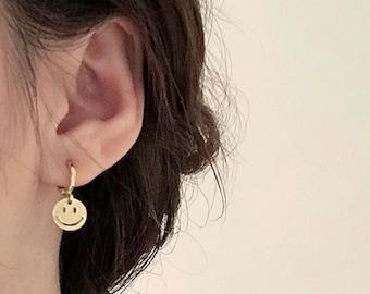 Gold huggie hoop earrings, smiley face emoji huggie hoop earrings, happy face huggies, gold hoop earrings, gold huggie earrings