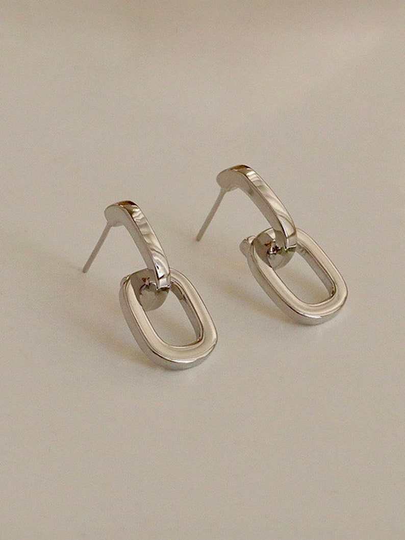 minimalist jewelry Interlock link drop earrings minimalist earrings chain earrings statement earrings