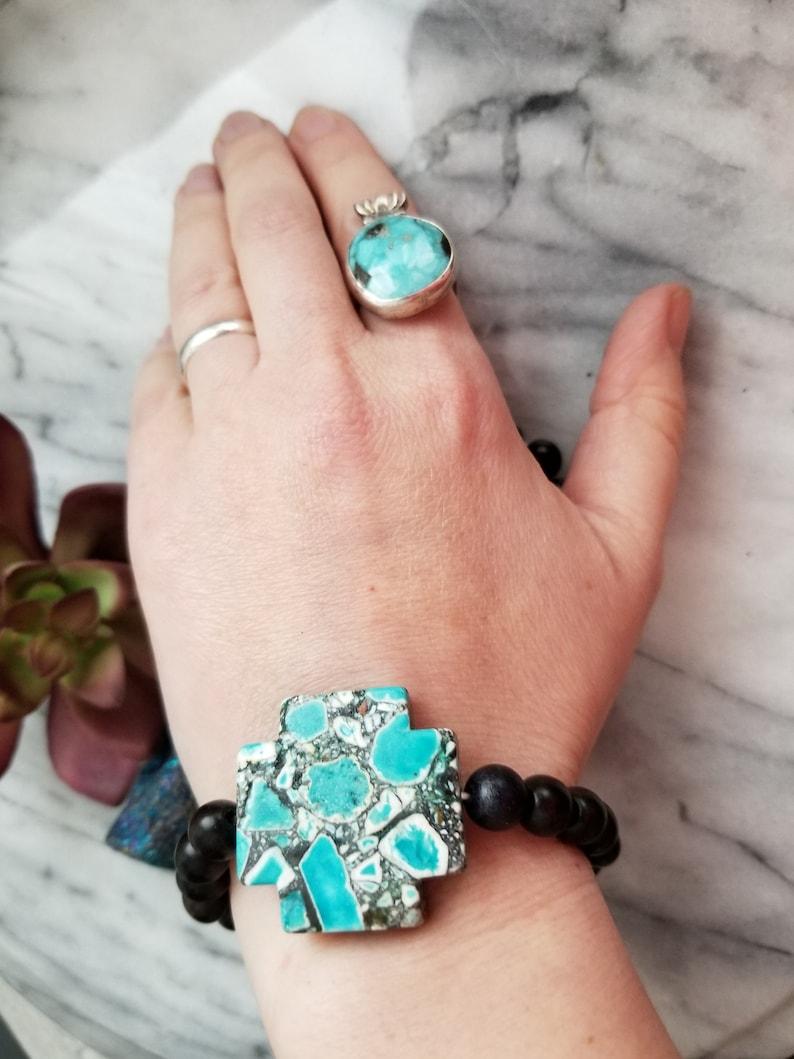 Sothwest cross in black stretch bracelet