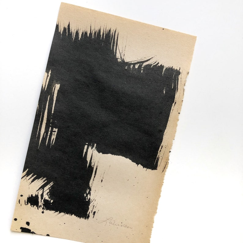 UNMATTED and UNFRAMED Original Abstract  Ink Painting on Vintage Book Page