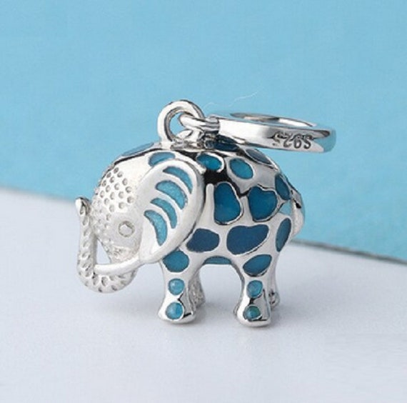 100% Authentic 925 Sterling Silver Blue Elephant Charm Animal | Etsy