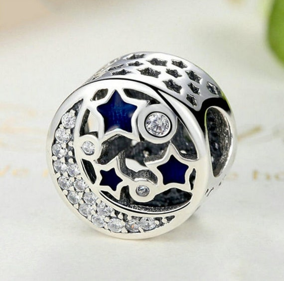 925 Sterling Silver Bead Charm Bright Star With Blue Mix Crystal Clip
