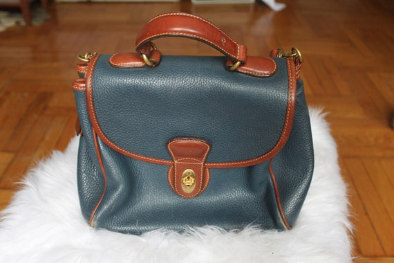 Coach blue and brown leather shoulder bag
