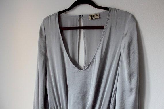 Silky silver bell sleeve mini dress