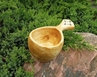 """Wooden Kuksa with """"Healer"""" #2"""